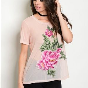 Tops - NWT sheer embroidered T-shirt blouse